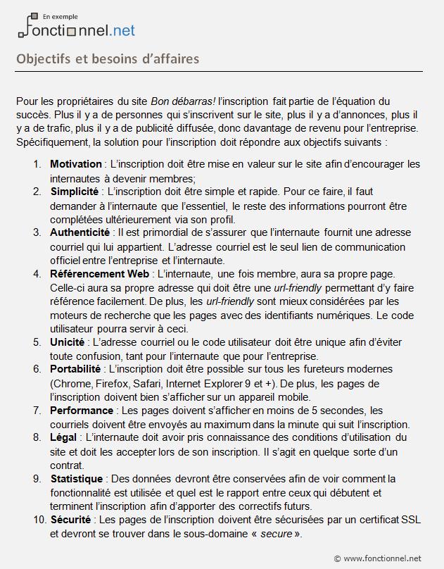 Exemple objectif d'affaires dans un dossier fonctionnel.