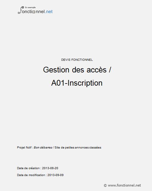 Exemple de page de garde d'un dossier fonctionnel