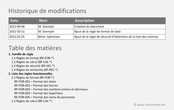 R gles et normes fonctionnelles communes - Exemple table des matieres ...